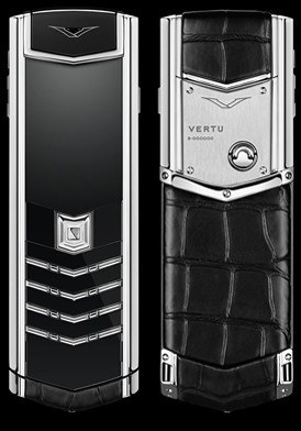Vertu Signature Black Alligator Stainless Steel mới 100% fullbox