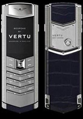 Vertu Signature Clous De Paris Silver Sapphire Key Navy Blue Alligator mới 100% fullbox