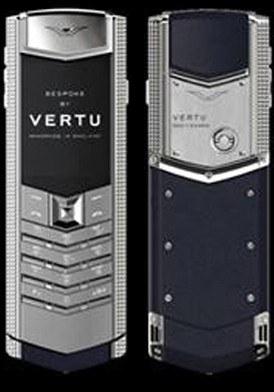 Vertu Signature Clous De Paris Silver Sapphire Key Navy Blue Leather mới 100% fullbox