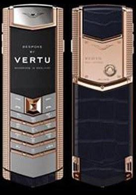 Vertu Signature Red Gold Clous De Paris Handset Navy mới 100% fullbox