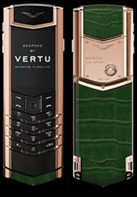 Vertu Signature Red Gold Handset Blue Sapphire Select Key mới 100%