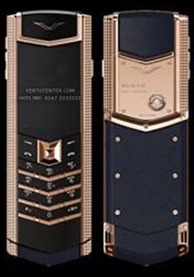 Vertu Signature Red Gold Clous De Paris Side Cheeks Navy Alligator 2016 mới 100% fullbox