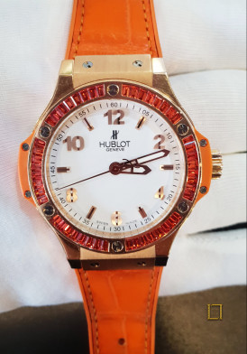 Hublot Big Bang Gold Tutti Frutti 18K Rose Gold Orange Leather Ladies Watch 38mm Đã Sử Dụng