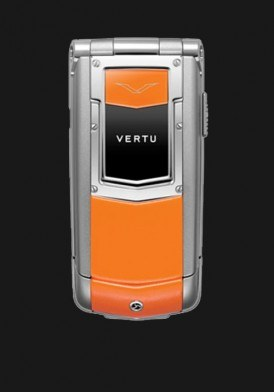 Vertu Constellation Ayxta Stainless Steel, High Gloss Hot Orange Leather Mới 100% Fullbox