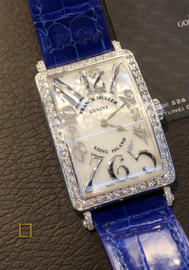 FRANCK MULLER LONG ISLAND 18K Gold Diamonds dây da xanh nay vy 45x26mm