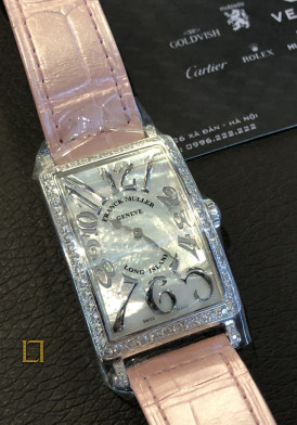 FRANCK MULLER LONG ISLAND dây hồng Diamonds 45x26mm
