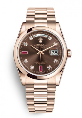 Đồng hồ Rolex Oyster Perpetual Day-Date 118205 Chocolate Dial 36mm Mới 100%
